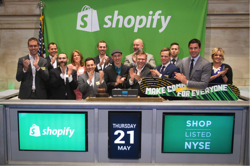 Shopify ringing the opening bell of the TSX in May 2015