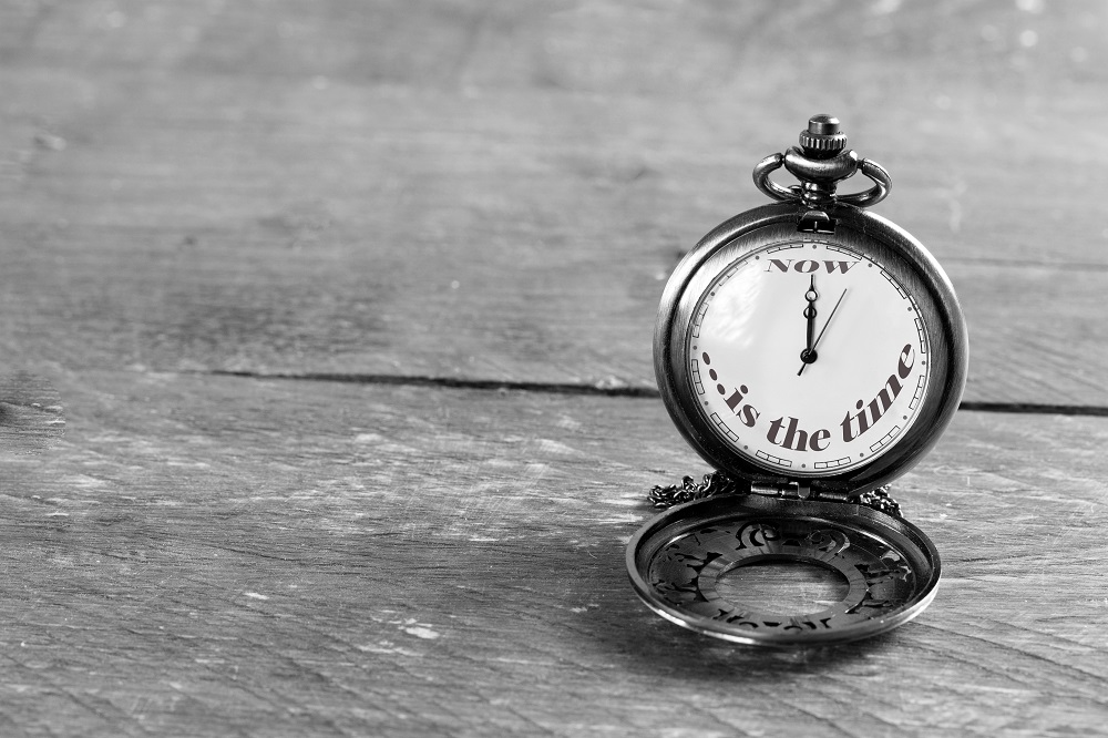 Pocket watch reading: now is the time