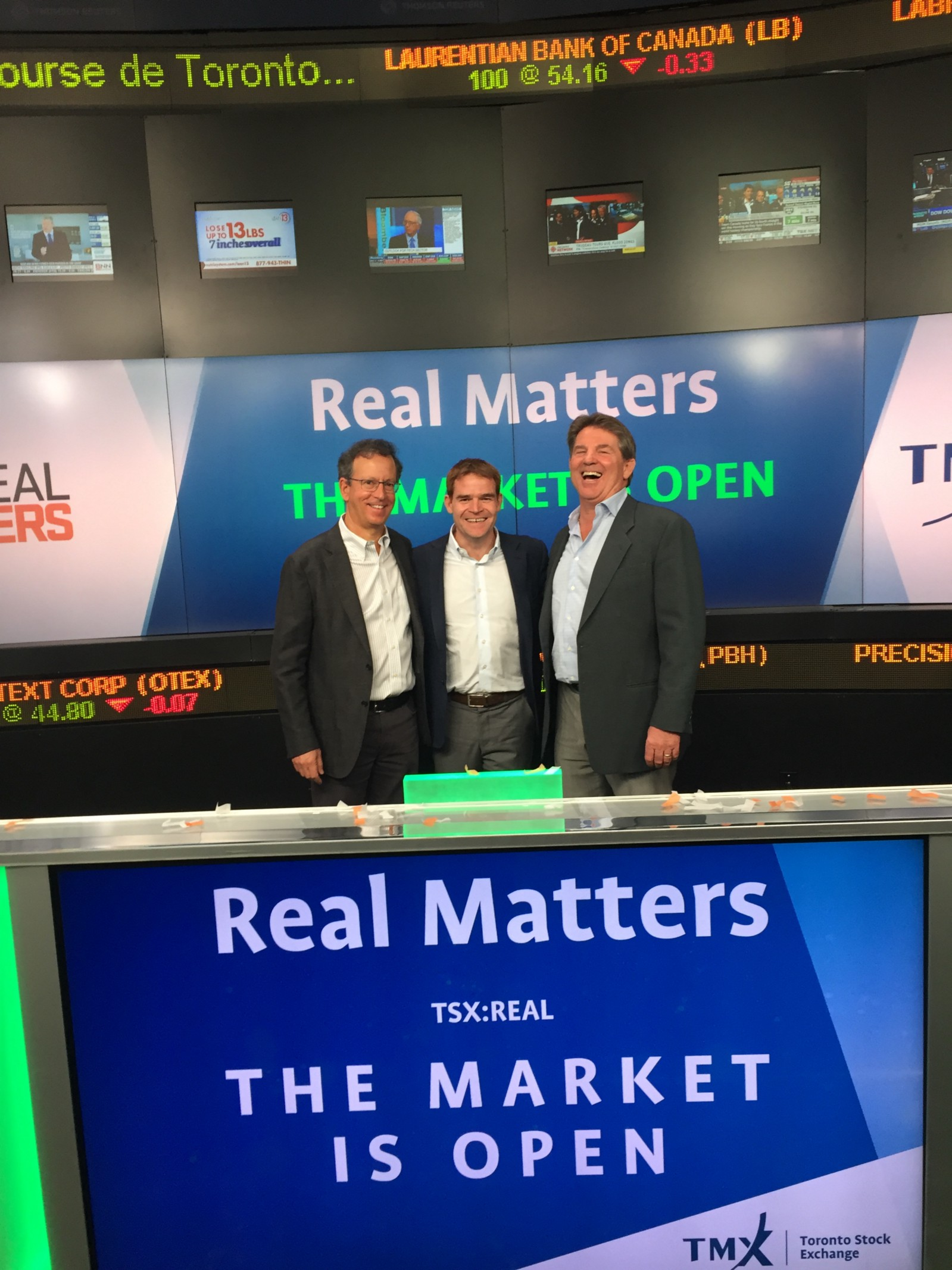 The Real Matters and Whitecap Venture Partners ringing the opening bell on the Toronto Stock Exchange/ May 11, 2017. | Real Matters IPO