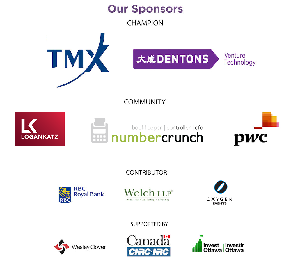 Logos of sponsors including TMX, Dentons, Logan Katz, numbercrunch, PwC, RBC, Welch LLP, Oxygen Events, Wesley Clover, IRAP-NRC, and Invest Ottawa