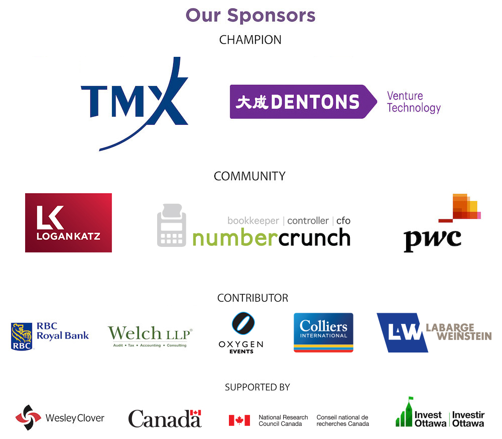 Logos of sponsors including TMX, Dentons, Logan Katz, numbercrunch, PwC, RBC, Welch LLP, Oxygen Events, Colliers International, LaBarge Weinstein, Wesley Clover, Canada, IRAP-NRC, and Invest Ottawa
