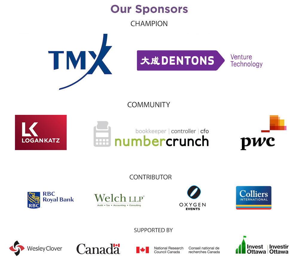 Logos of sponsors including TMX, Dentons, Logan Katz, numbercrunch, PwC, RBC, Welch LLP, Oxygen Events, Colliers International, Wesley Clover, Canada, IRAP-NRC, and Invest Ottawa