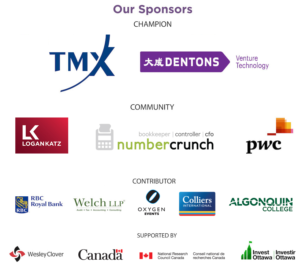 Logos of sponsors including TMX, Dentons, Logan Katz, numbercrunch, PwC, RBC, Welch LLP, Oxygen Events, Colliers International, Algonquin College, Wesley Clover, Canada, IRAP-NRC, and Invest Ottawa