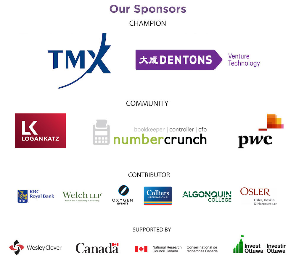 Logos of sponsors including TMX, Dentons, Logan Katz, numbercrunch, PwC, RBC, Welch LLP, Oxygen Events, Colliers International, Algonquin College, Osler, Wesley Clover, Canada, IRAP-NRC, and Invest Ottawa
