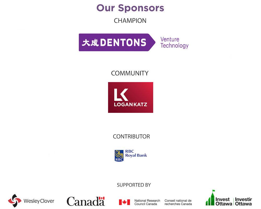 Logos of sponsors including Dentons, Logan Katz, RBC, Wesley Clover, Canada, IRAP-NRC, and Invest Ottawa