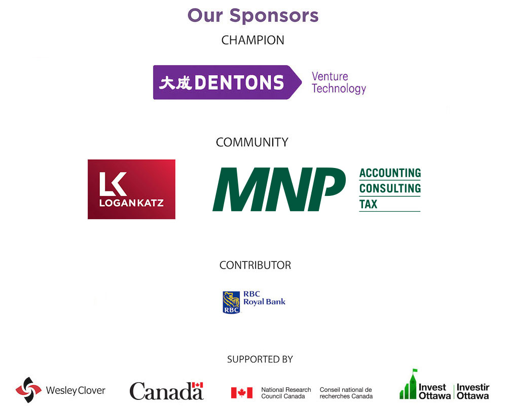 Logos of sponsors including Dentons, Logan Katz, MNP, RBC, Wesley Clover, Canada, IRAP-NRC, and Invest Ottawa