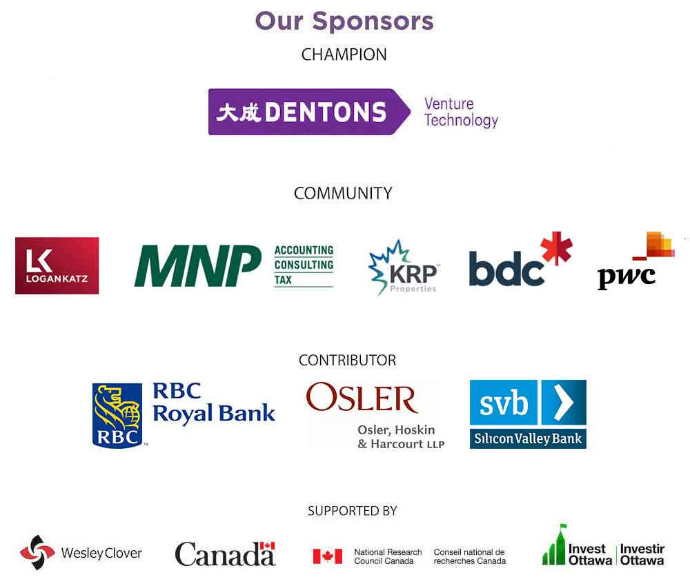 Logos of sponsors including Dentons, Logan Katz, MNP, KRP Properties, BDC, PWC, RBC, Osler, Silicon Valley Bank, Wesley Clover, Canada, IRAP-NRC, and Invest Ottawa