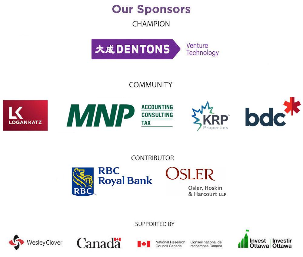 Logos of sponsors including Dentons, Logan Katz, MNP, KRP Properties, BDC, RBC, Osler, Wesley Clover, Canada, IRAP-NRC, and Invest Ottawa